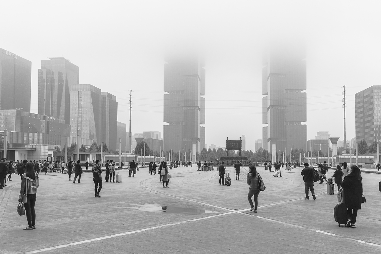 The square in front of the Zhengzhou railway station.