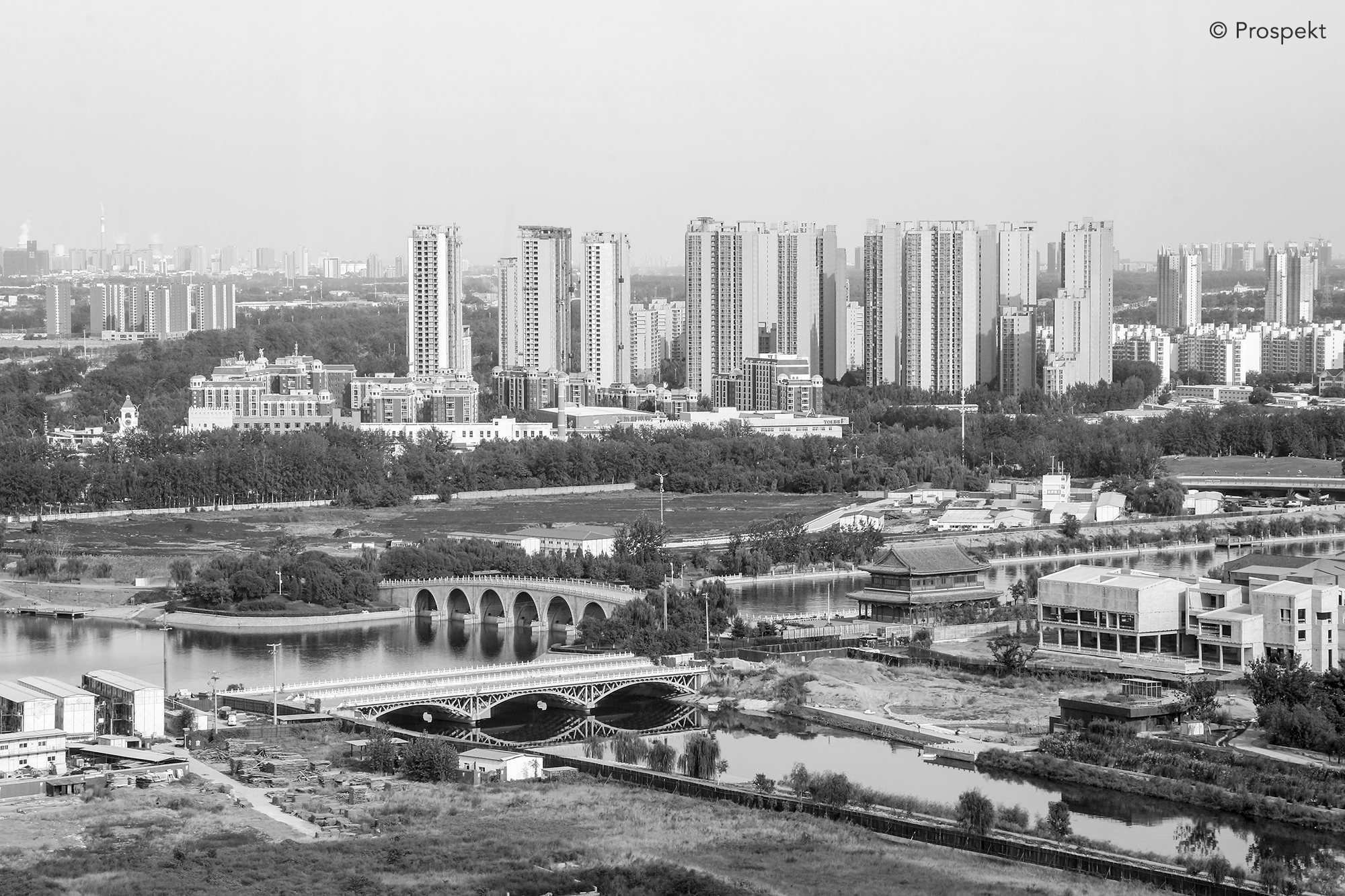 View of Tongzhou from the top aof a new building. Beijing.